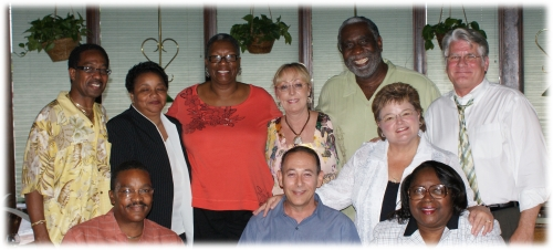 Our 1st meeting in June 2009:  L. to R. STANDING: Gerald Law, Linda Hicks, Shelia (Hammond) Atkins, Liz  (Baskerville) B